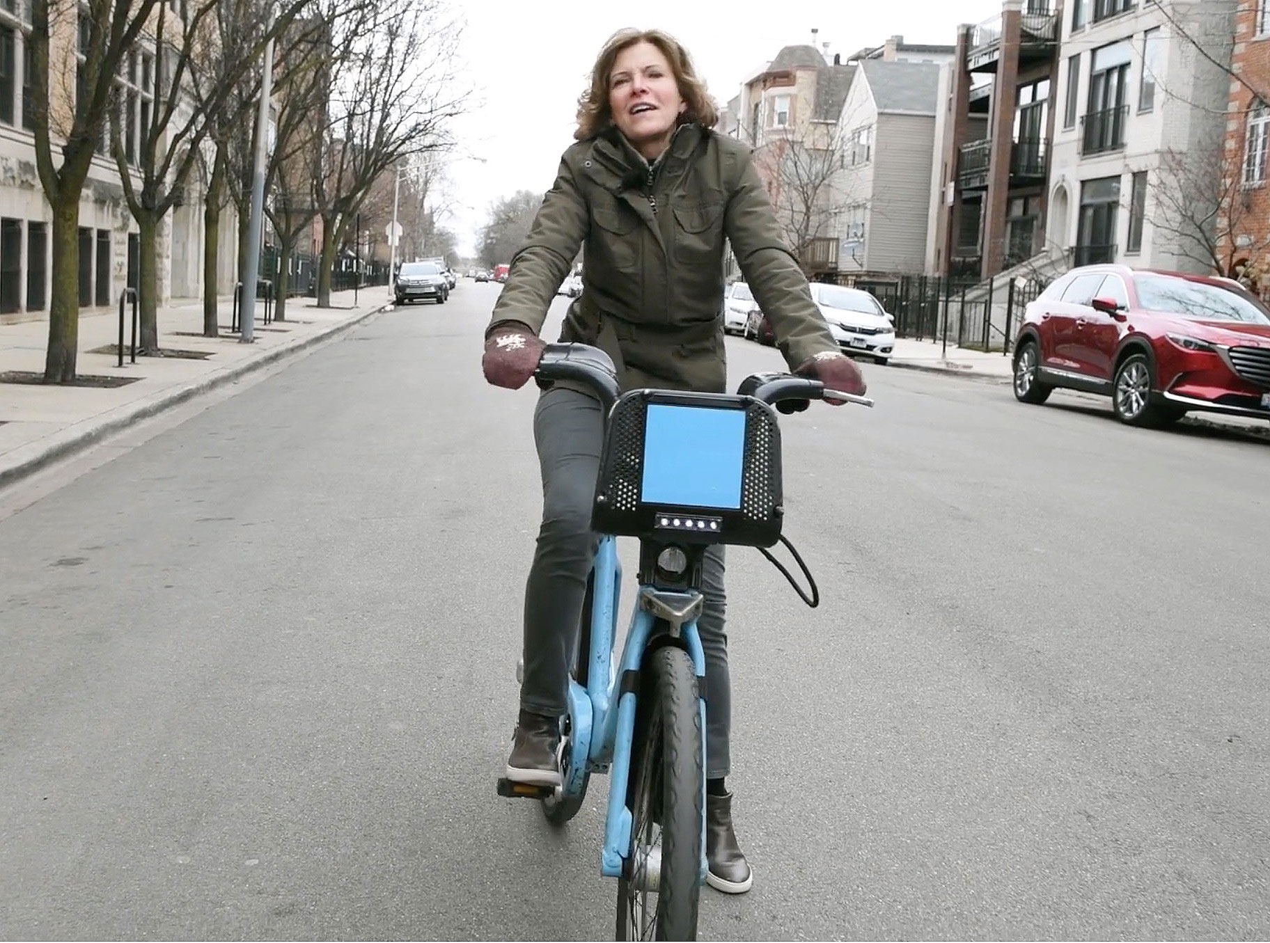Jeanne Gang cycling to her Chicago office (in the days when you could)