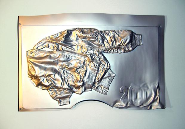 Super-Hybridity - more than post-modernism plus the internet. Seth Price's vacuum-formed polystyrene 'Vintage Bomber', (2006)