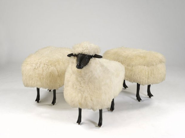 Moutons de Laine (group of 3), 1965/1974 Wool, bronze and wood on wheels - François-Xavier Lalanne