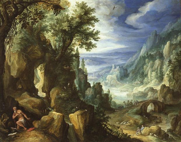 Saint Jerome praying in a rocky landscape (1592) by Paul Bril