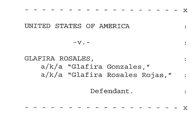 Detail from Glafira Rosale's  S1 indictment