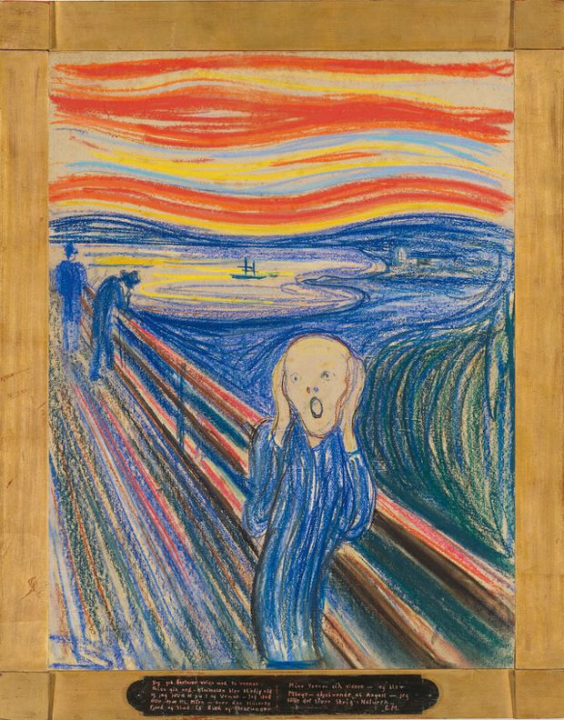 The Scream (1895) Pastel on board, by Edvard Munch