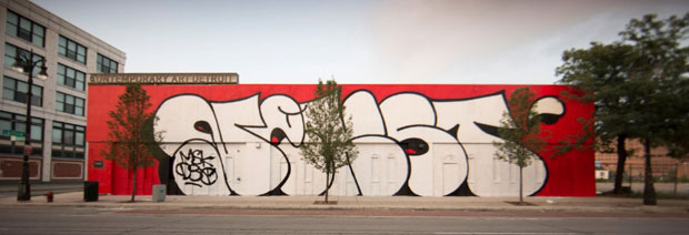 MOCAD Woodward Ave. Exterior: NEKST Murals, 2013 by DONT, VIZIE, POSE OMENS REVOK, and SKREW. Photograph by Colin M. Day