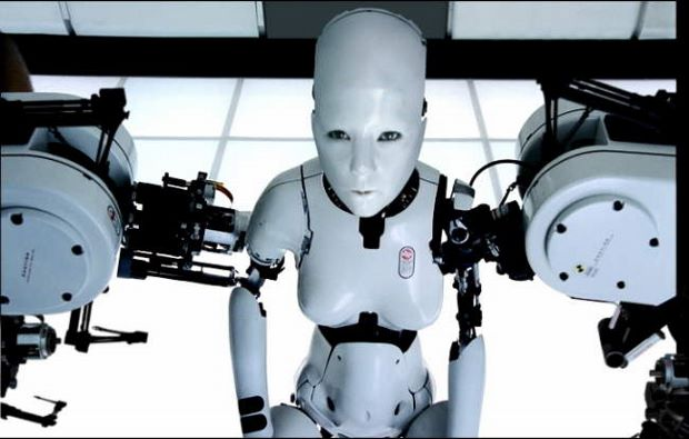 A still from Björk's 1999 video, All Is Full of Love, by Chris Cunningham