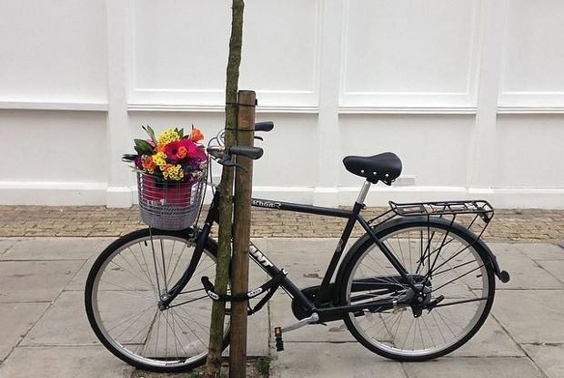 Ai Weiwei's floral bike protest outside the Lisson gallery in London. Image courtesy of the gallery's Instagram account