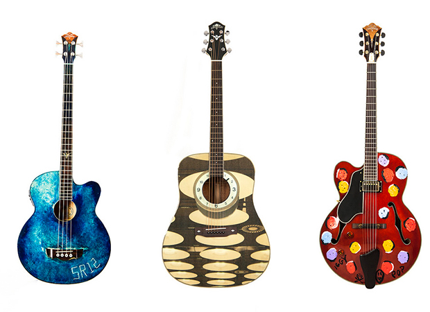 From left: Sterling Ruby, Michael Stipe and Iggy Pop's War Child guitars. Images courtesy of War Child USA