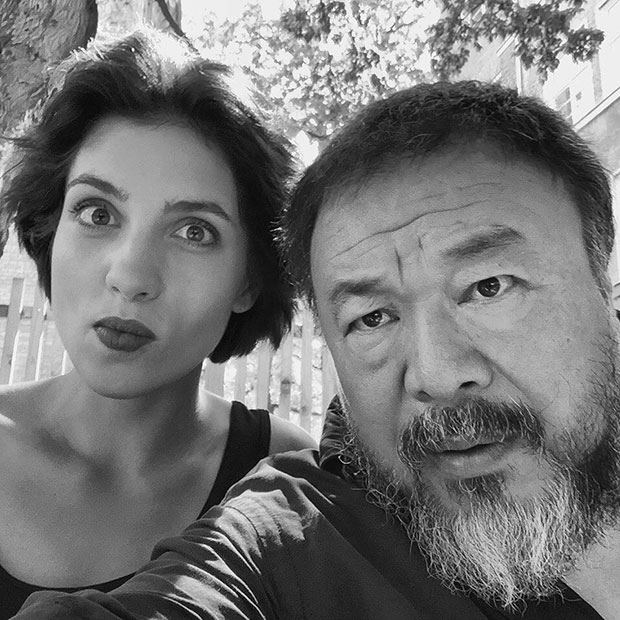 Ai Weiwei and Pussy Riot's Nadia Tolokonnikova at Pauly Saal, Berlin. Image courtesy of Ai's Instagram