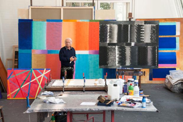 Heinz Mack in his studio. Photo by Ute Mack. Image courtesy of Ben Brown Fine Arts