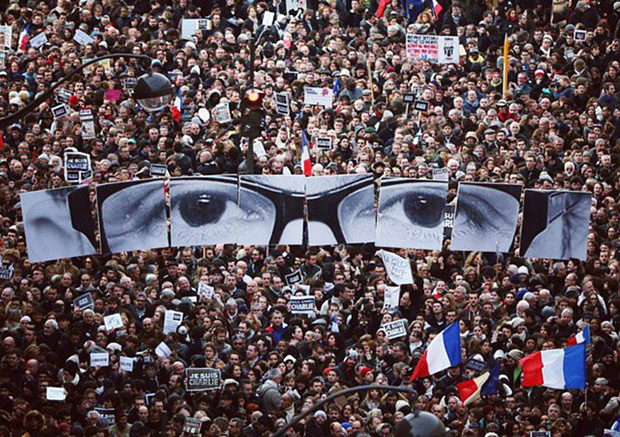 JR's Charb placards at last Sunday's march in Paris