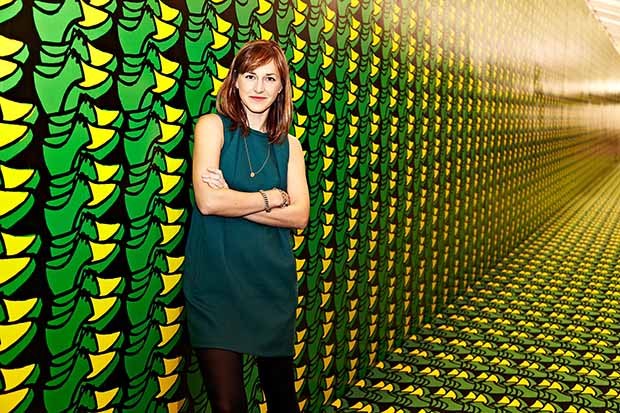 Jo Stella-Sawicka at Frieze London, 2012. The background image formed part of Thomas Bayrle's Frieze Project.