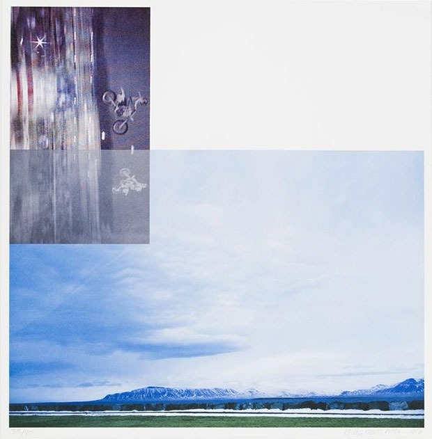 Overlap series: double motorcyclists and landscape (icelandic) 2003 - John Baldessari