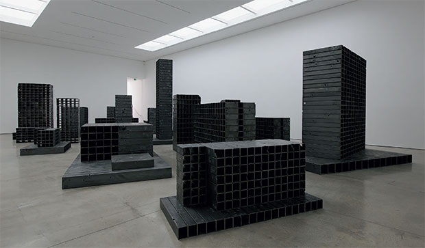 Bunker (2011), 22 mild-steel tubing structures, dimensions variable. Installation view at White Cube, London, 2011. As reproduced in our new Contemporary Artist Series monograph
