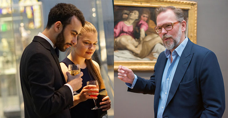 From left: a Met members' event; John Currin beside Ludovico Carracci's The Lamentation at the Metropolitan Museum, New York. Photo by Jackie Neale/Kathryn Hurni © The Met