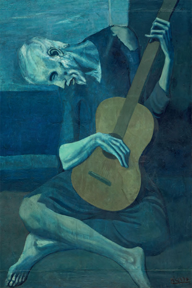 The Old Guitarist 1903–4 by Pablo Picasso, oil on panel 122.9 x 82.6 cm (48½ x 32½ in) Art Institute of Chicago, Illinois. The Art Institute of Chicago / Art Resource, ny/ Scala, Florence / © Succession Picasso/dacs, London 2017. As reproduced in Chromaphilia: The Story of Colour in Art