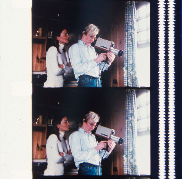 Andy Warhol filming through the window with Lee Radziwill looking over his shoulder, Montauk, August 1972. Jonas Mekas. All images courtesy of Boo-Hooray and Jonas Mekas