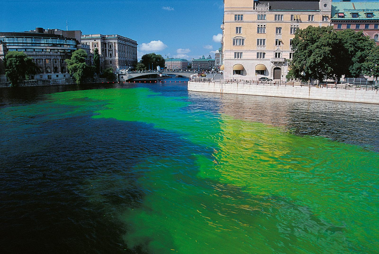 Green River Project, 2000, by Olafur Eliasson, uranine and water, dimensions variableStrömmen waterway, Stockholm. As reproduced in Chromaphilia