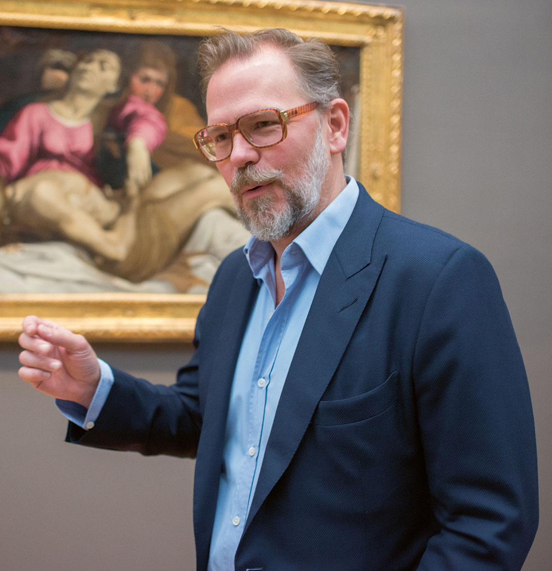 John Currin beside Ludovico Carracci's The Lamentation at the Metropolitan Museum, New York. Photo by Jackie Neale/Kathryn (from our book The Artist Project)