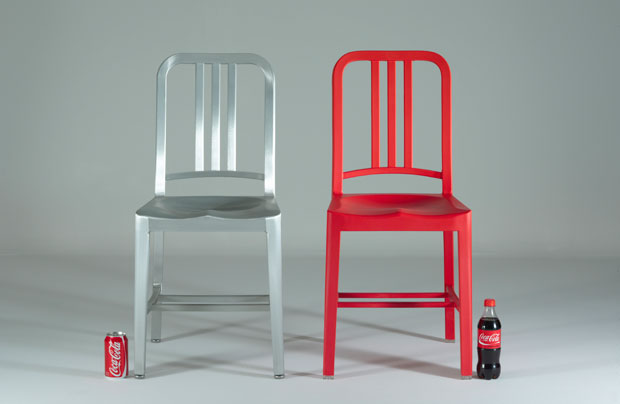 Emeco's 111 Navy chair made from recycled Coca-Cola bottles