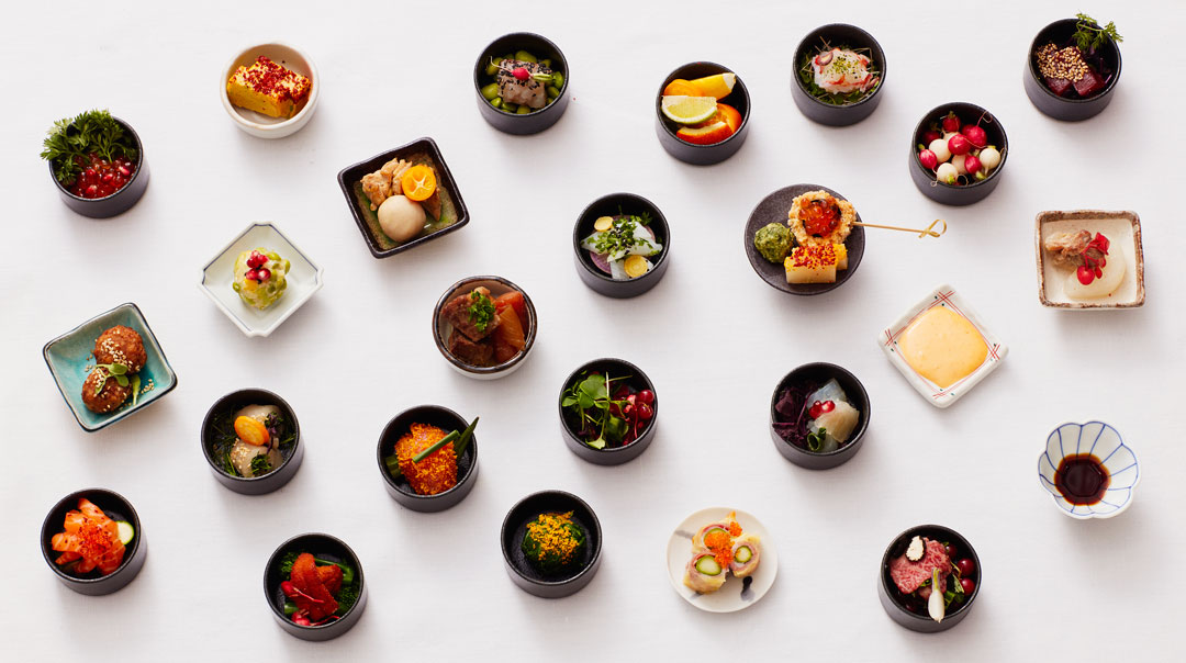 A selection of dishes from Akira at Japan House London, opening summer 2018