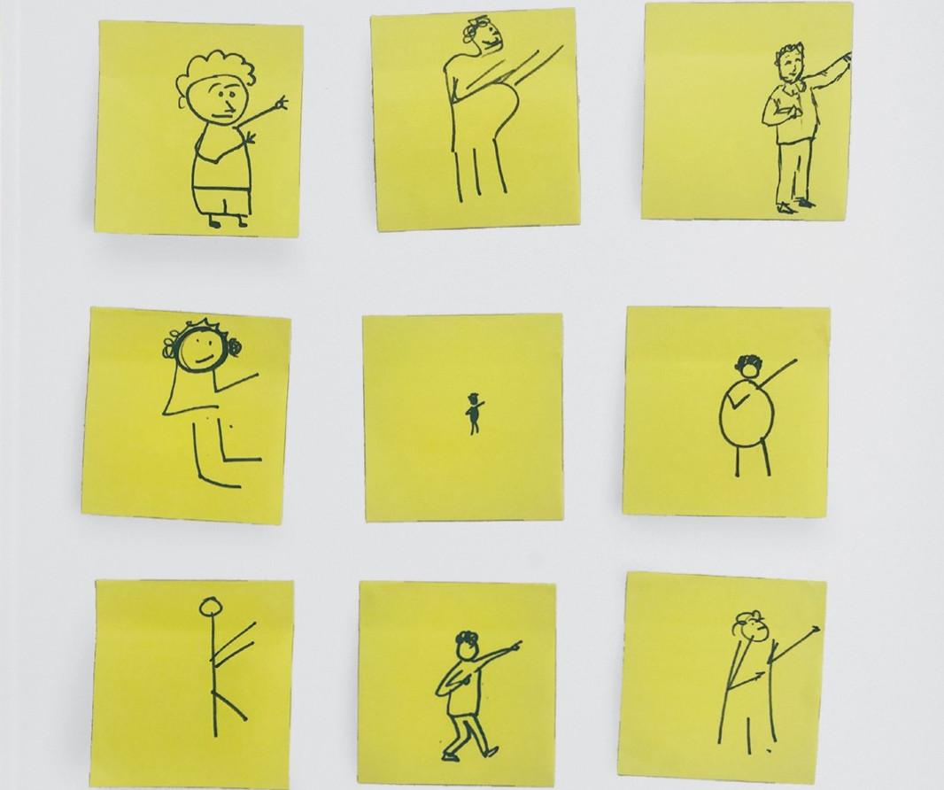 Stick men drawings. As reproduced in Bruce Mau: MC24