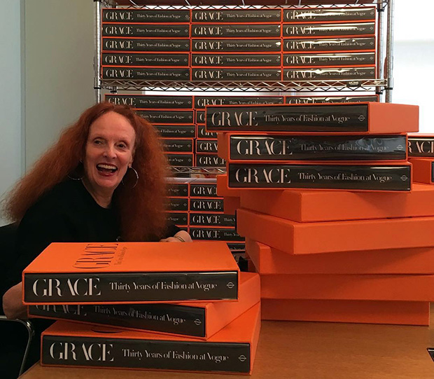 Grace Coddington signs copies of Grace: Thirty Years of Fashion at Vogue in Phaidon's New York office