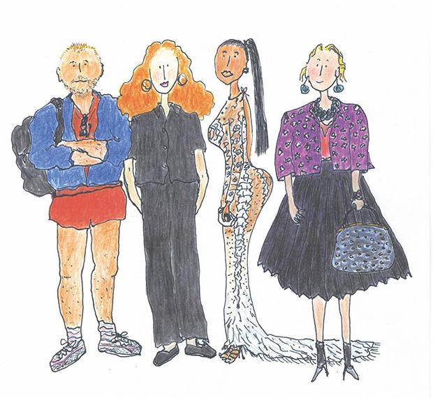 Grace Coddington's Vogue Festival illustration. From left: Juergen Teller, Grace, Kim Kardashian, Lucinda Chambers