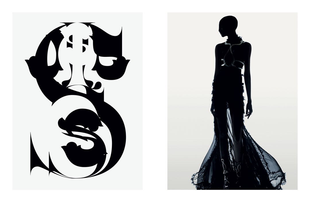 """Typography, 2007 (left), Interview, photography, 2012 , from chapter 10, """"Sacred, Secular, Faith, Doubt, Terror, Beauty, Totem, Plinth, Pillar, Subvert, Submerge, Sublime,"""" of Fabien Baron: Works 1983-2019"""