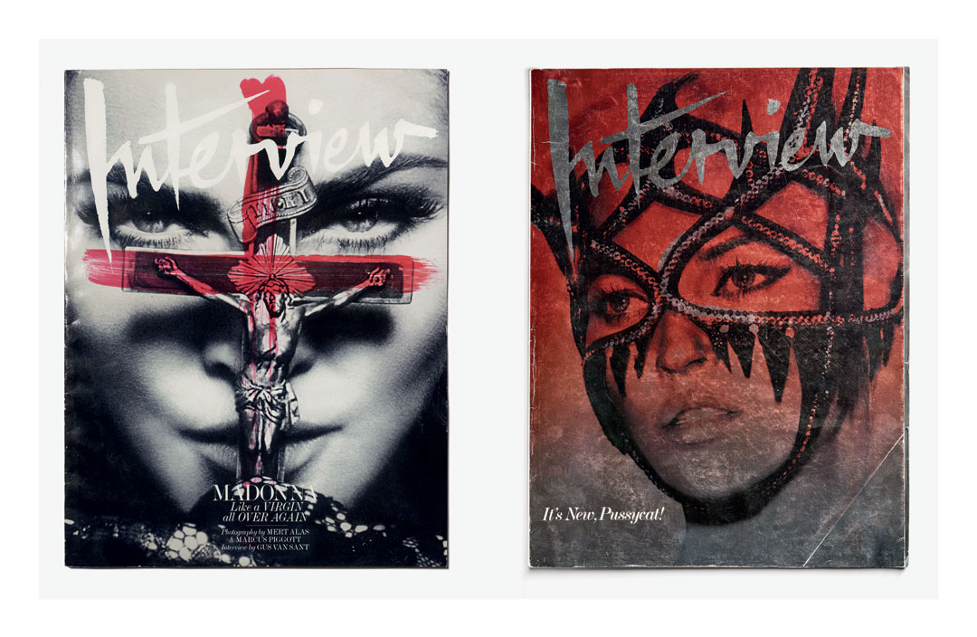 From left: Interview cover 2010, photography by Mert Alas and Marcus Piggott, art direction by Fabien Baron; Interview cover 2008, photography by Mert Alas and Marcus Piggott, art direction by Fabien Baron. As featured in Fabien Baron: Works 1983-2019