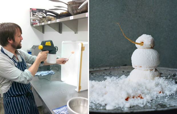 René Redzepi prepares 'The Snowman' - the most difficult dish on Noma's menu - on the set of Masterchef Australia 2011