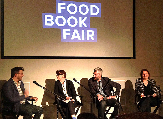 Emilia Terragni (second from left) exchanges words with Peter Meehan at the Food Book Fair discussion panel, last weekend to her right Alex Grossman and Anne E McBride