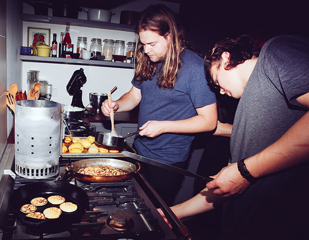 Magnus Nilsson and Joel Aronsson at work in the kitchen. Photograph by Michelle Heimerman
