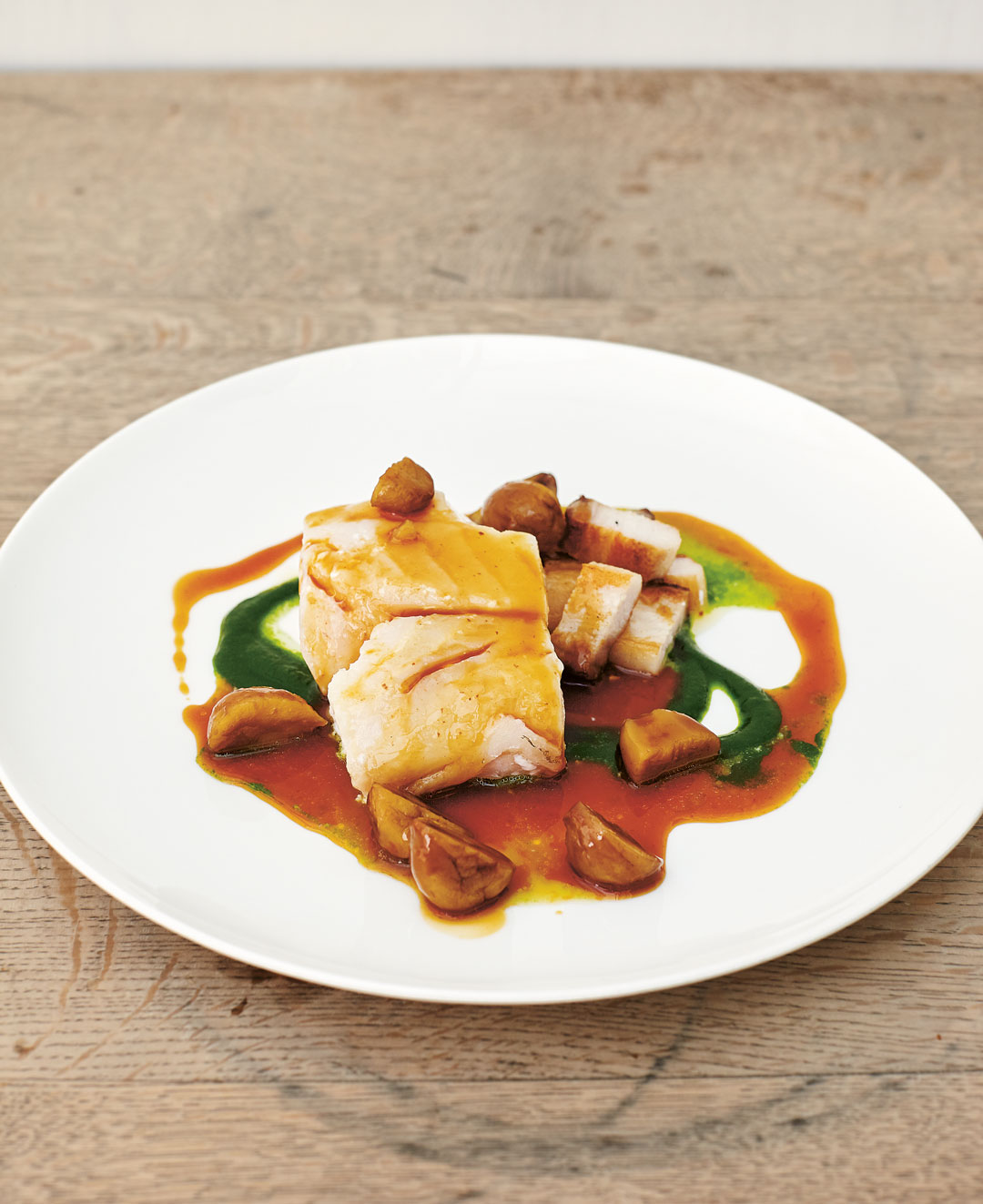 Baked cod with chestnuts, parsley and bacon, as featured in The Sportsman