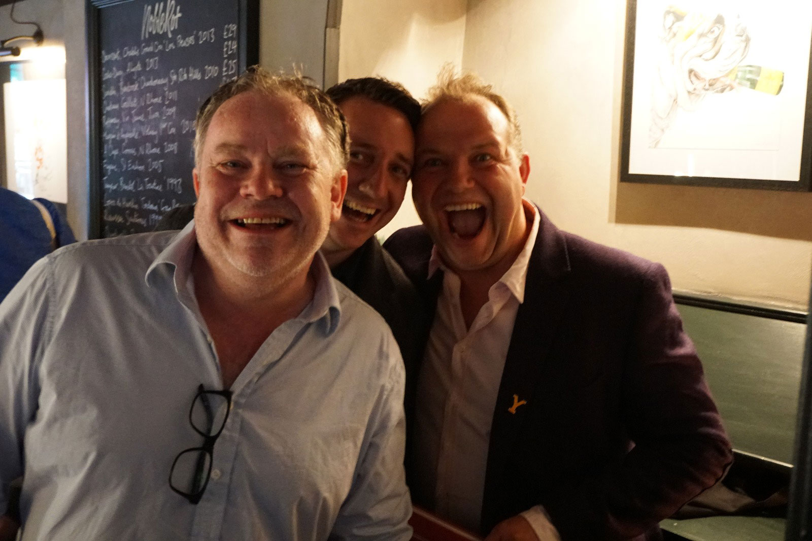 Stephen Harris with Andrew Pern of the Star Inn at Harome and James Mackenzie of The Pipe And Glass, Beverley at the launch of The Sportsman at Noble Rot