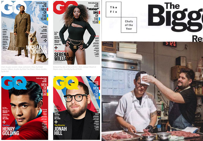 A composite of GQ's Men and Women of the Year covers for 2018, alongside their feature on Jeremiah and Fabián
