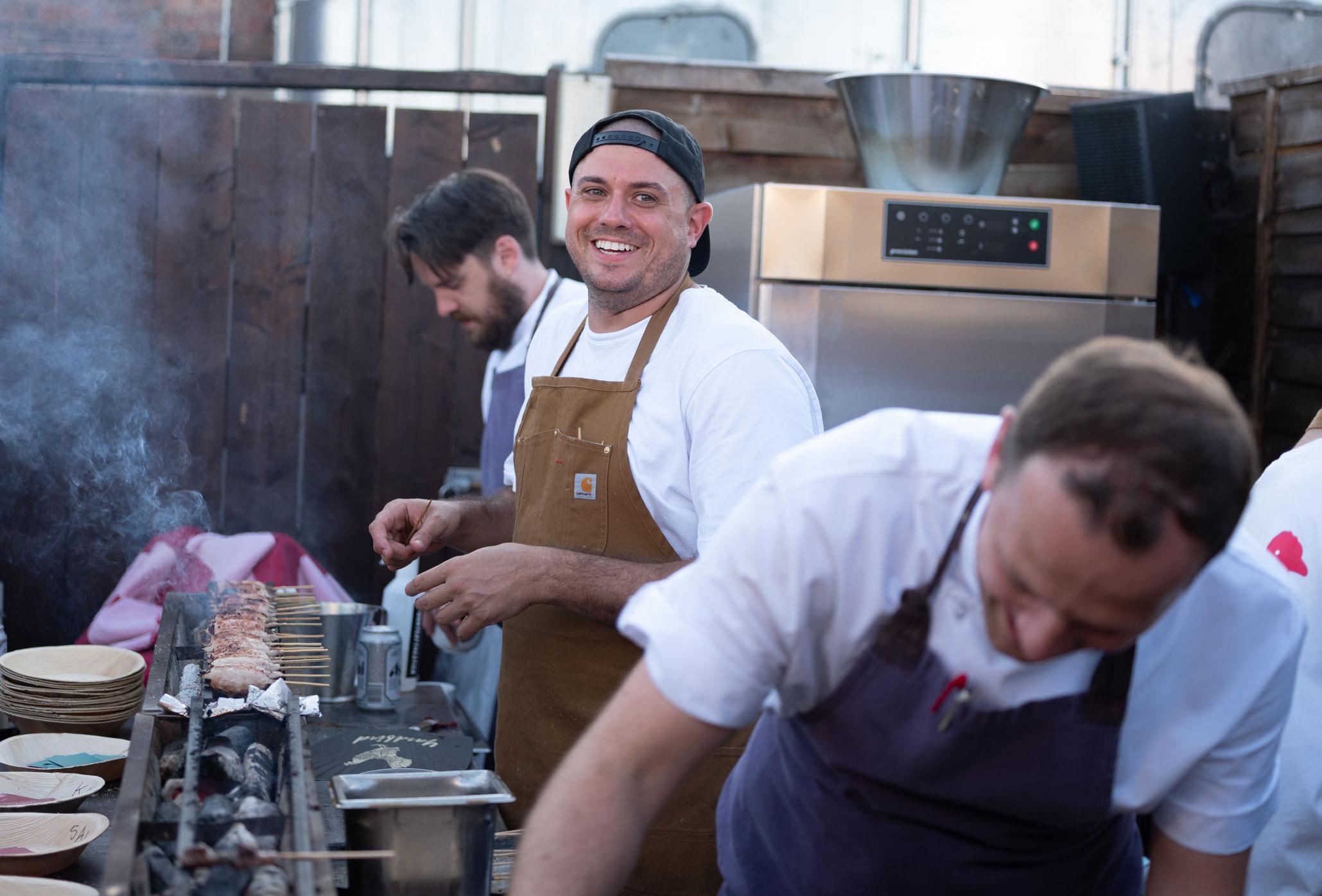 Matt Abergel cooks on the roof of Shoreditch House, London, July 2018