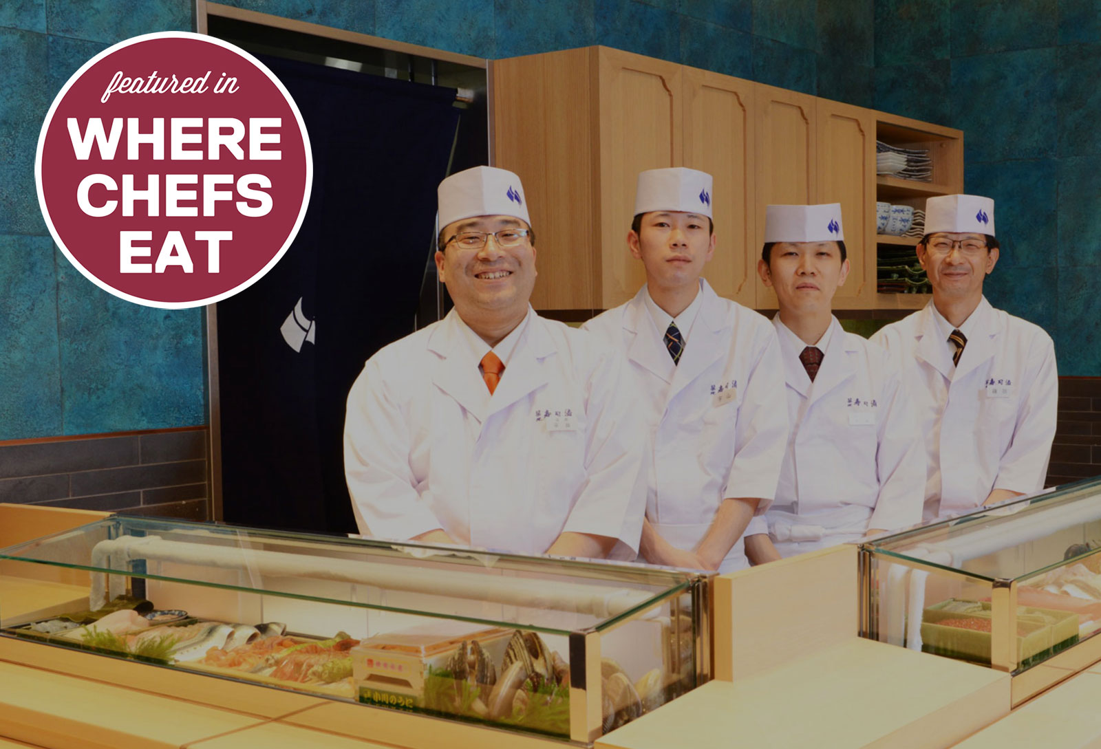Some of the staff and chefs at Tsukiji Sushisay in Tokyo