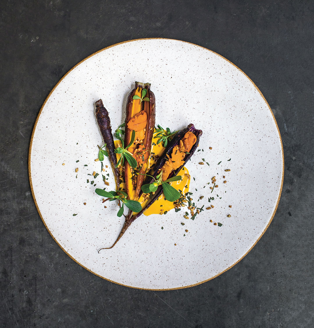 Carrot, Uni, Genmaicha, from A Very Serious Cookbook. Photography by Matty Yangwoo Kim. All ceramics by Noble Plateware