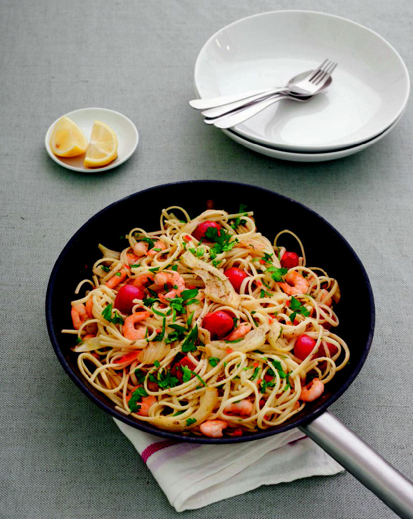 Spicy shrimp, fennel & chile linguine. All images from Simple & Classic by Jane Hornby