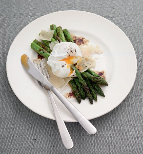 Asparagus  and poached egg with balsamic butter, from Simple Classic by Jane Hornby