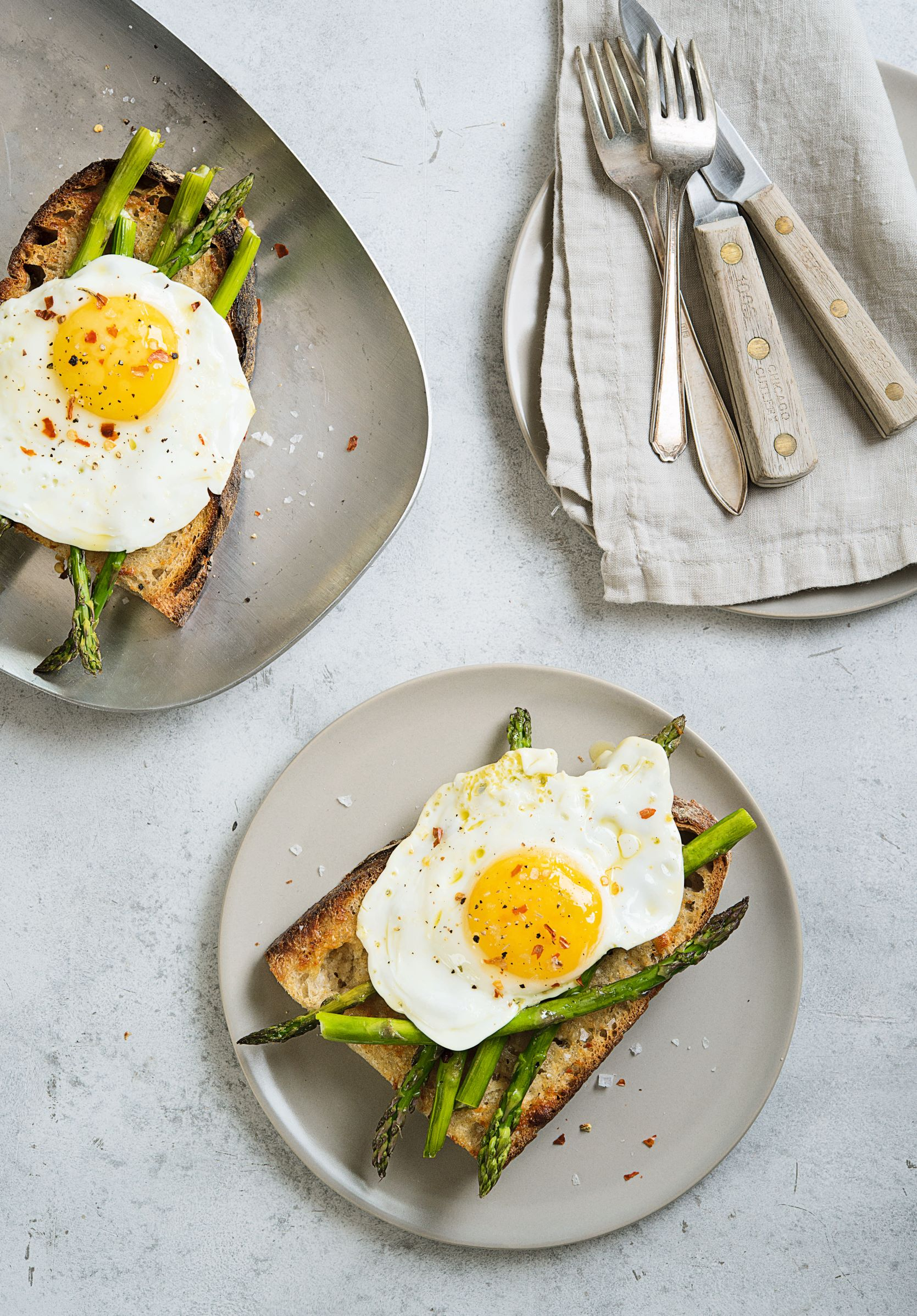 Parm Butter, Fried Egg and Asparagus Toast, from Toast