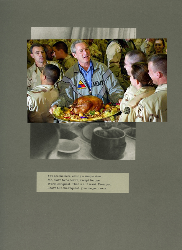Adam Broomberg and Oliver Chanarin, Plate 26, 2011. George Bush serves a Thanksgiving turkey to US troops stationed in Baghdad in 2003, 2011